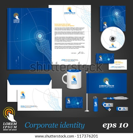 Blue digital corporate identity template with hand. Vector company style for brandbook and guideline. EPS 10 - stock vector