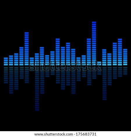 Blue Digital Equalizer with reflection - stock vector