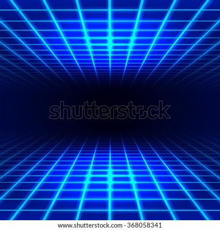 Blue dimensional grid space tunnel floor and ceiling - stock vector