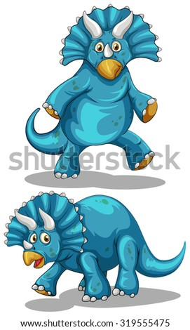 Blue dinosaur with horns illustration - stock vector