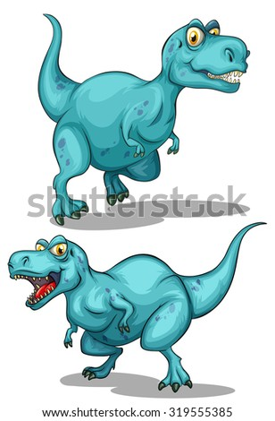 Blue dinosaur with sharp teeth illustration - stock vector