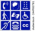 blue disability symbols and signs collection, may be used to publicize accessibility of places, and other activities for people with various disabilities.vector illustration - stock photo