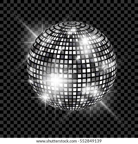 silver disco ball on glowing background stock vector