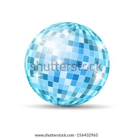 Blue Disco Ball isolated on a white background. Vector EPS 10 illustration. - stock vector