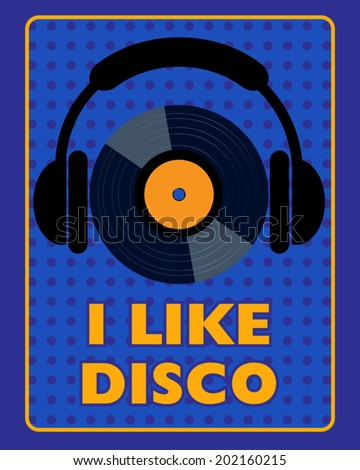 blue disco poster - stock vector