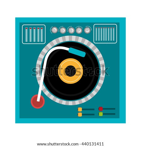 blue dj turntable with black and yellow disco front view over isolated background,vector graphic