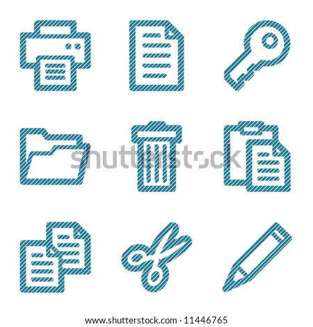 Blue document contour icons V2