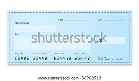 Blue dollar old style bank cheque blank for your business - stock vector