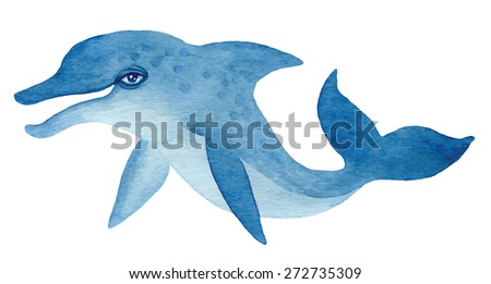 blue dolphin, hand drawn watercolor vector illustration - stock vector