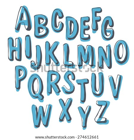 Blue Doodles Shadowed Alphabet - stock vector