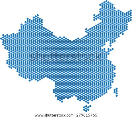 Blue dot China map on white background, vector illustration. - stock vector