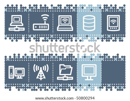 Blue dots bar with network web icons - stock vector