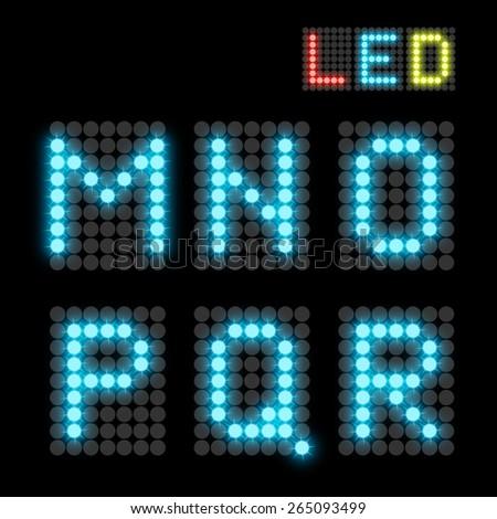 blue dotted LED display letter. Vector illustration - stock vector