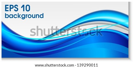 Blue dotted wave background - stock vector