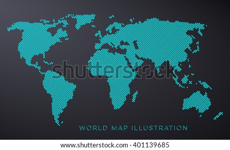 Blue dotted world map isolated on black background - stock vector