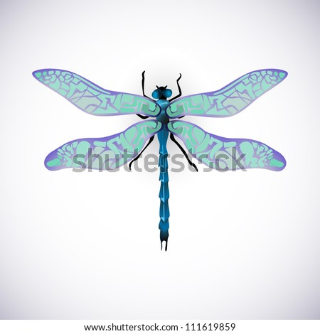 blue dragonfly vector image high resolution collection - stock vector