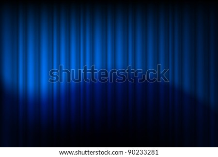Blue drapes reflected. Illustration of the designer - stock vector