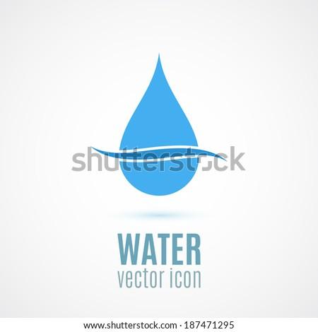 Blue drop symbol, conceptual icon. Vector illustration - stock vector