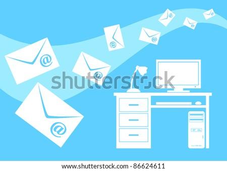 Blue e-mail - stock vector
