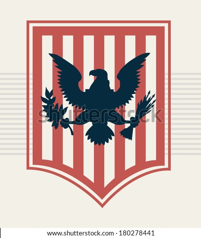 blue eagle on red shield, vector illustration - stock vector