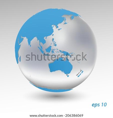 Blue Earth. 3d vector model - stock vector