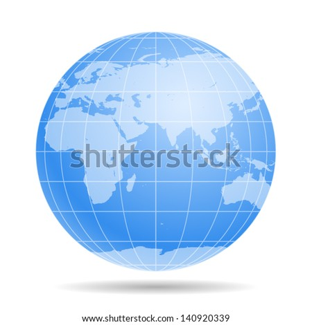 Blue Earth globe - icon isolated on white background. Vector - stock vector