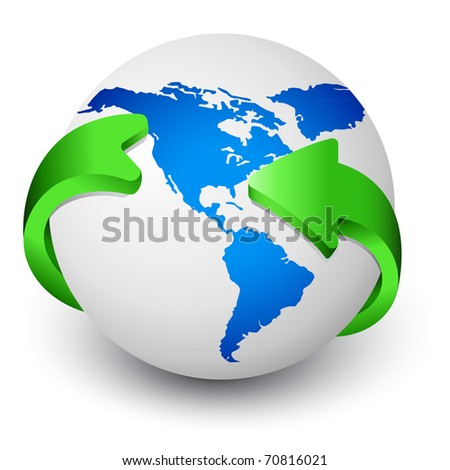 Blue Earth globe with green arrows around - stock vector
