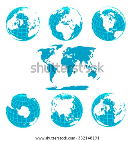 Blue Earth Globes Isolated on White - stock vector