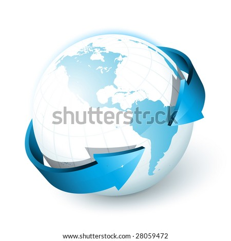 Blue earth with arrows - stock vector