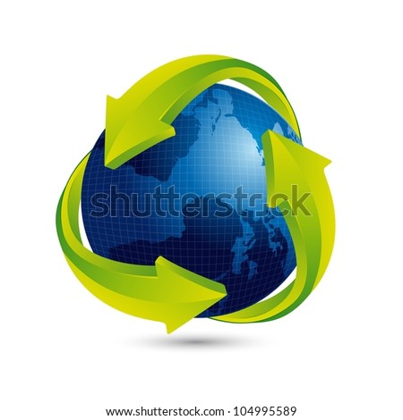 blue earth with green arrow and shadow. vector illustration