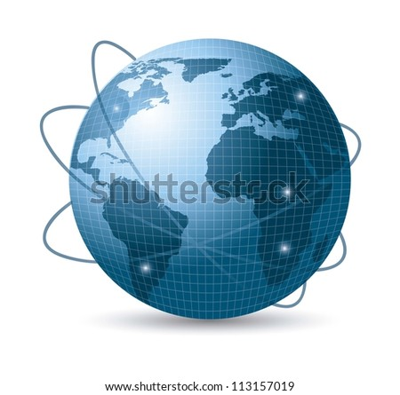 blue earth with web of satellites with shadow. vector illustration - stock vector