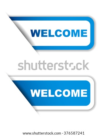 Blue easy vector illustration isolated horizontal banner welcome two versions. This element is well adapted to web design. - stock vector
