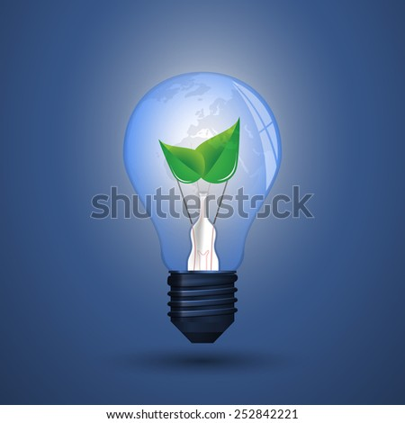 Blue Eco Energy Concept Icon - Plant Inside the Light Bulb - stock vector