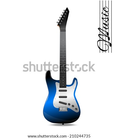 Blue electric guitar music concept isolated on white background vector illustration