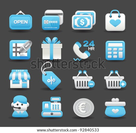 Blue Elegant series | business ,shopping,travel, internet,office,work icon set - stock vector