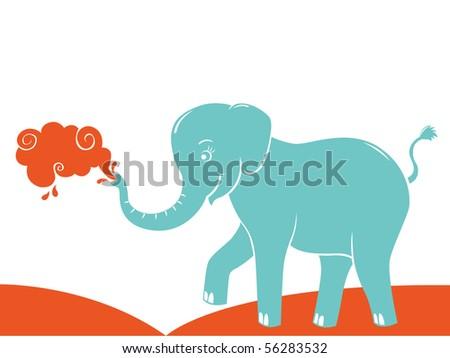 Blue elephant illustration - stock vector