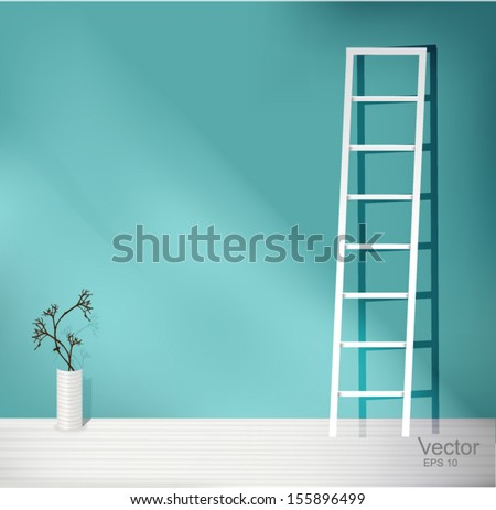 Blue empty interior with white Staircase and white vases  - stock vector