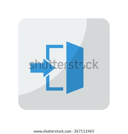 Blue Enter icon on grey rounded square button on white - stock vector