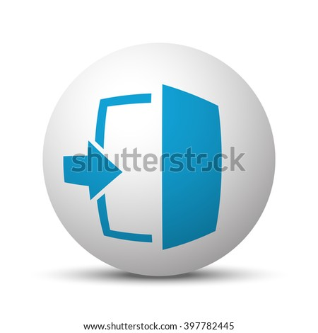 Blue Enter icon on sphere on white background - stock vector