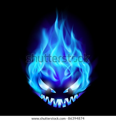 Blue Evil burning Halloween symbol. Illustration on black background - stock vector