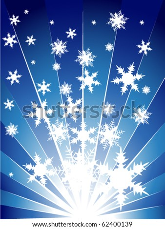 Blue explosion with snowflakes - stock vector