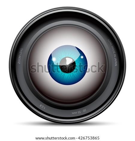 Blue eyeball inside the camera lens - stock vector