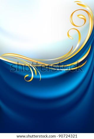 Blue fabric curtain, background. Gold vignette. Gradient mesh. - stock vector