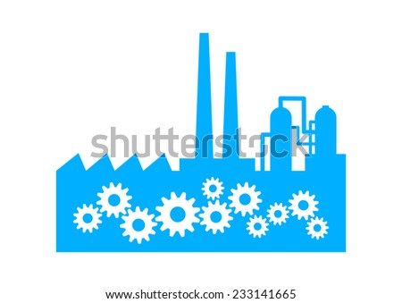 Blue factory icon on white background