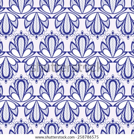 Blue fantasy floral seamless pattern - vector illustration. - stock vector