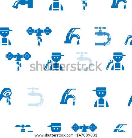 Blue Faucet / Tap Seamless pattern, eps vector illustration - stock vector