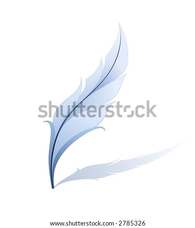 Blue feather - detailed illustration isolated on white - stock vector