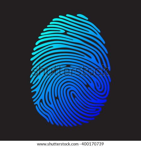 Blue fingerprint. Color fingerprint on black background. Security system fingerprint. Vector fingerprint illustration. - stock vector