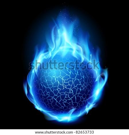 Blue fire ball. Illustration on black background for design - stock vector