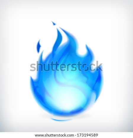 Blue fire, vector icon - stock vector